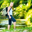 Young woman hiking with backpack — Stock Photo #33213503