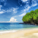 Tropical beach. Padangbai, Bali, Indonesia — Stock Photo