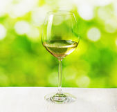 Glass of wine on nature background — Stock Photo