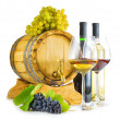 Red and white wine on white background — Stock Photo