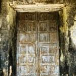 Locked old wooden church door — Stock Photo