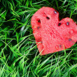Watermelon heart on green grass. Valentine concept — Stok fotoğraf