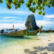 Thai boats on Phra Nang beach, Thailand — Stock Photo