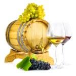 rode en witte wijn op witte achtergrond — Stockfoto #36979777