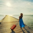 Young woman with suitcase waking on wooden pier — Stock Photo