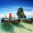 Stock Photo: Thai boats on PhrNang beach, Thailand