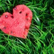 Watermelon heart on green grass. Valentine concept — Stock Photo #38773165