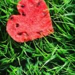 Watermelon heart on green grass. Valentine concept — Stock Photo #39262215