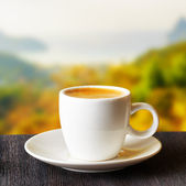 Cup of coffee on highlands background — Foto de Stock