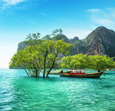 Boats on Railay beach, Thailand — 图库照片
