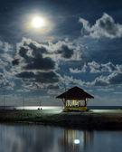 Gazebo et la lune dans la réflexion de l'eau. paysage de nuit. — Photo