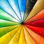 Soap bubbles and multi-coloured background — Stock Photo