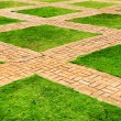 Green grass and brick paths — Stock Photo #39399035