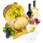 红色和白色背景上的白葡萄酒 — 图库照片 #39432113