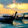 Stock Photo: Traditional thai boats at sunset beach