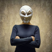 Woman in white mask. Horror concept — Stock Photo