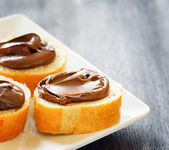 Toasts with chocolate spread — Stock Photo
