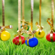 Easter eggs hanging on golden ribbons — Stock Photo #43015323