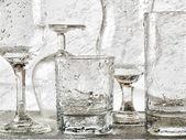 Glassware washing under water jets — Stock Photo
