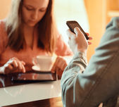 Couple ignoring each other busy with their mobile devices — Stock Photo