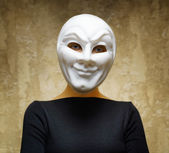 Woman in white mask. Horror concept — Foto de Stock