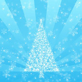 Blue Christmas Tree with Snowflake background — Stock Photo