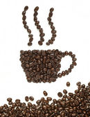 Coffee beans make coffee cup shape — Stock Photo