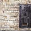 Old Wooden Door on Grunge Brick Wall — Stock Photo #50440397