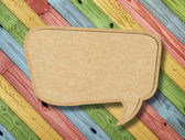 Blank Speech Bubble on colorful painting wood background — Стоковое фото