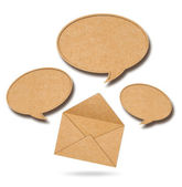 Recycle Paper speech bubbles out from Envelope — Stock Photo