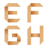 E,F,G,H Origami alphabet letters from recycled paper — Stok fotoğraf