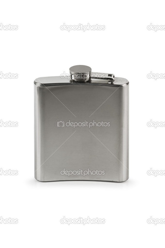 Steel flask isolated on white — Stock Photo #14034394