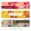 Set of colorful retro card Valentines Day — Imagen vectorial