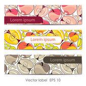 Reihe von bunten retro-karte mit äpfeln — Stockvektor