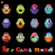 Stok Vektör: Set of twelve colorful monsters