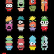 Set of twelve colorful monsters — Vektorgrafik