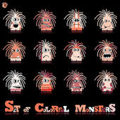 Set of twelve colorful monsters — Stock Vector