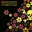Abstract skull and flowers grunge background design — Stock Vector