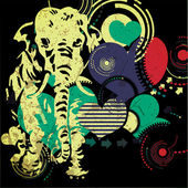 Retro elephant with hearts- grunge background — Stock Vector