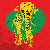 Elefante retrò con sfondo di cuore-grunge — Vettoriale Stock