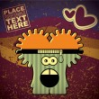 Monster on retro background — Imagen vectorial
