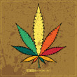 Rastafarireggae flag with marijuana — Vecteur #15452967