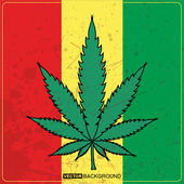 Rastafarian reggae flag with marijuana — Stock vektor