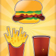 Burger fries and cola — Stock Vector #16313465