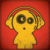 Funny boy with headphones — Stock Vector