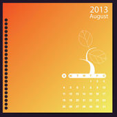 Calendar 2013 with floral elements — Stock Vector