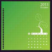 Calendrier 2013 avec les éléments floraux — Vecteur