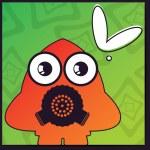 Monster on retro background — Stock Vector