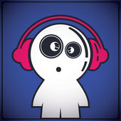 Funny boy with headphones — Vector de stock