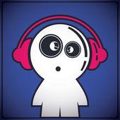 ヘッドフォンで面白い少年 — ストックベクタ